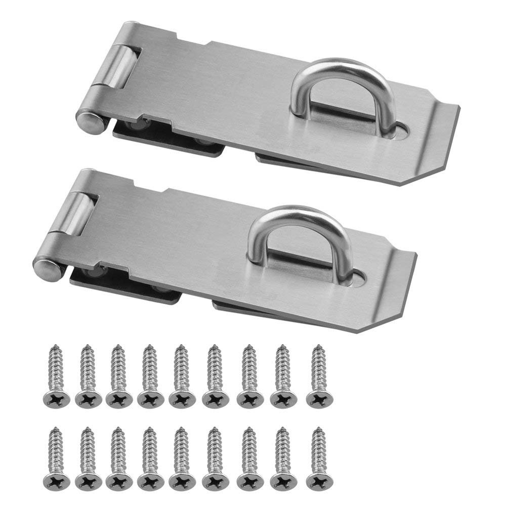 """RilexAwhile 2PCS Security Padlock Hasp Safety Door Gate Bolt Lock Latches Heavy Duty 304 Stainless Steel Brushed Nickel 4.2"""" Door Buckle with 18PCS Mounting Screws"""