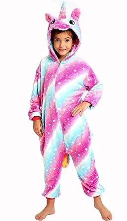 Halloween Girls Boys Unicorn Costume Kids Animal Onesie Pajamas Sleepwear