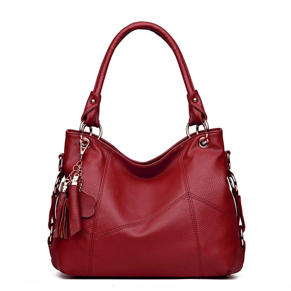Women's Leather Tote Shoulder Bag Handbag Purses Satchel Shoulder Bags Handle Bag Leather tassel (Claret)