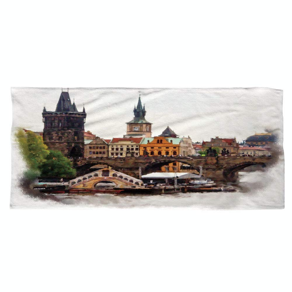 iPrint Large Cotton Microfiber Beach Towel,Scenery Decor,European Country Landscape with Houses and River Watercolored Like Print,Multicolor,for Kids, Teens, and Adults