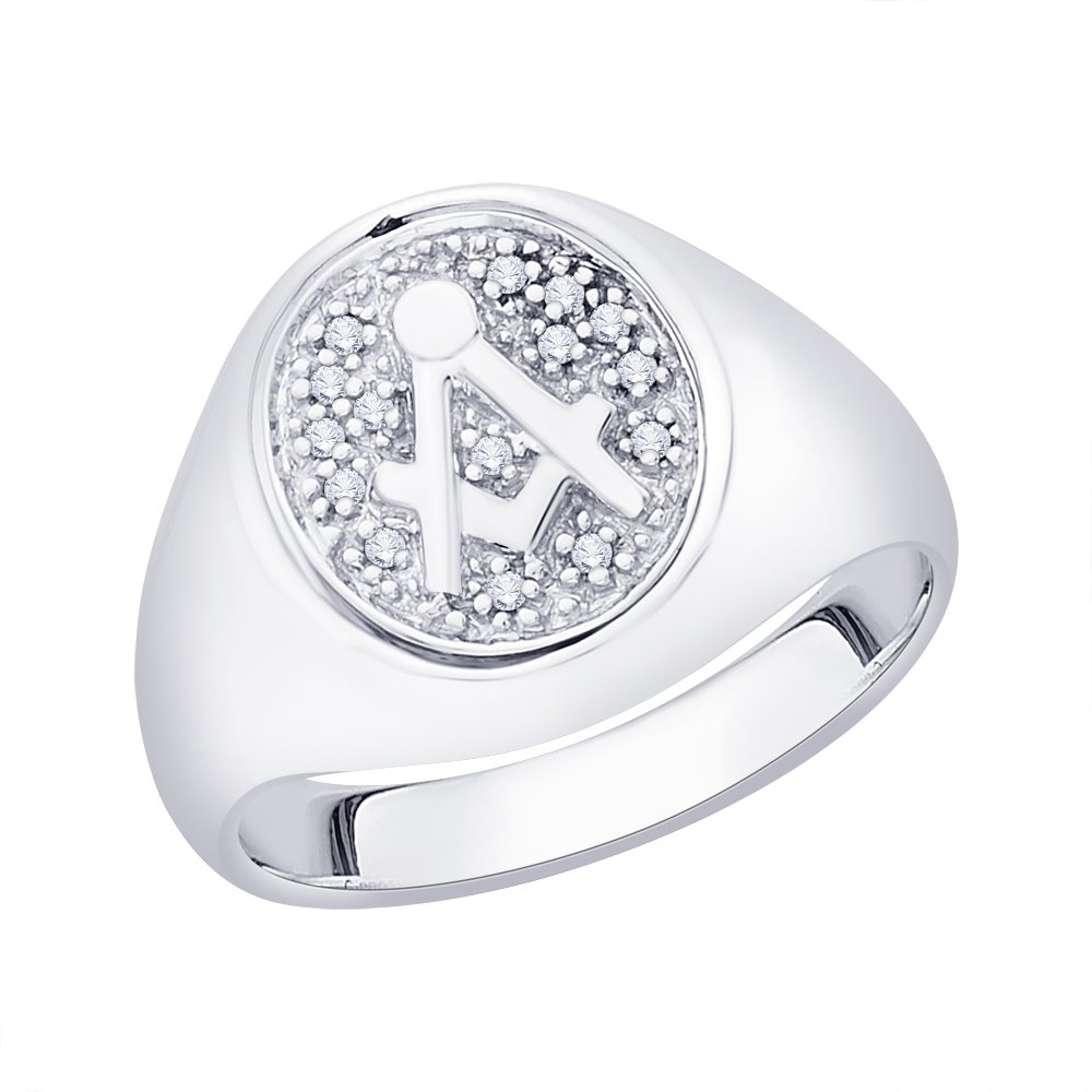 G-H,I2-I3 Size-12.5 1//10 cttw, Diamond Fashion Mens Ring in Sterling Silver
