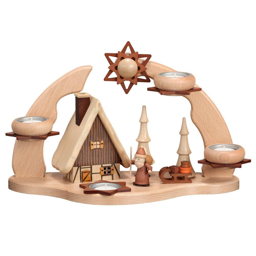 Adventsbogen mit Rauchhaus + Weihnachtsmann für 4 Teelichter LxBxT 22x35x16cm NEU Erzgebirgische Volkskunst Erzgebirgische Handarbeit Schwibbogen Lichterbogen