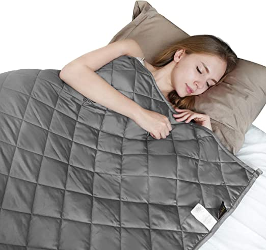 """Ourea Weighted Blanket Adult W//Removable Grey 15 lbs, 48"""" x 72"""", Twin Size"""