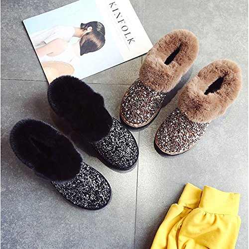 Fall Toe ZHZNVX Null Heel Boots Women's Black Rhinestone Flat Winter Suede Casual Round for Comfort Khaki Boots Snow HSXZ Ankle Boots Booties Shoes Black 6qXwv6r