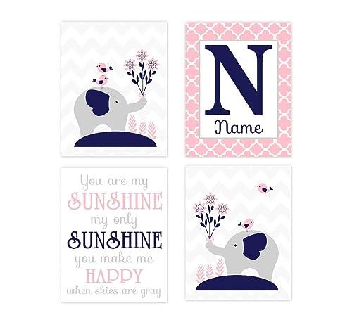 Customised Name Print Nursery Decor Kids Wall Art Baby Girl Nursery Nursery Print Personalised baby Print Flower Wall Art Playroom