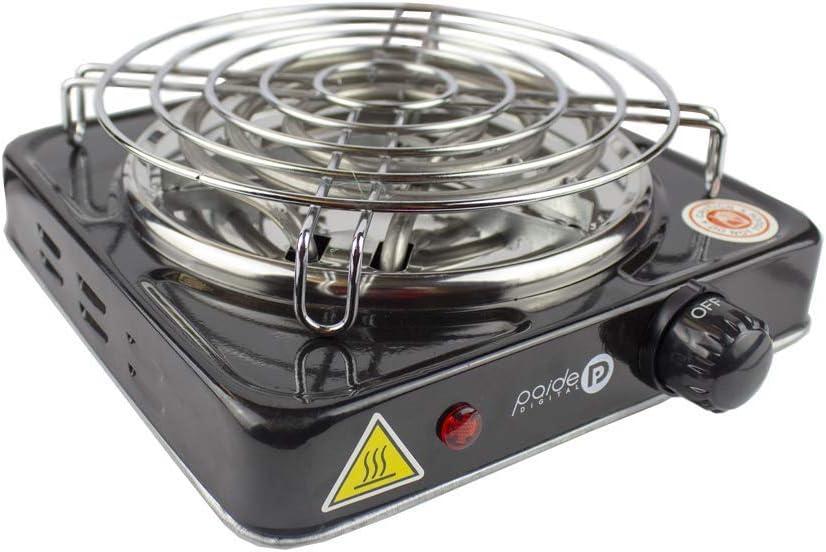 PAIDE P DIGITAL Cocina eléctrica con reijlla para cachimba Shisha Hookah Camping para cocinar carbón (Negro)