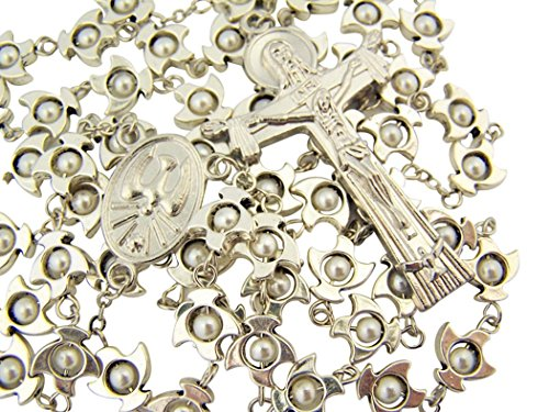 Silver Tone Holy Spirit Dove Prayer Bead Rosary with Trinity Cross Crucifix, 23 Inch