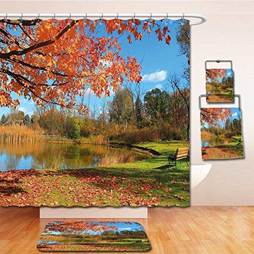 Beshowereb Bath Suit: Showercurtain Bathrug Bathtowel Handtowel Landscape Autumn Scenery in Michigan USA Scenic View with Trees Pond and Clear Sky Orange Blue - Michigan In Macys