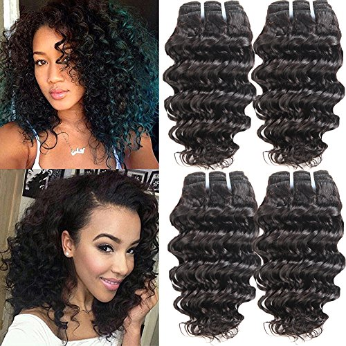 Fine Plus 7a Remy Virgin Brazilian Deep Wave Human Hair Extensions Pack of 4 Unprocessed Deep Wave Weave 50g/pc Total 200g Natural Color