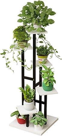 6 Niveles de Madera Blanca Estantes de Flores Sembrador de macetas Escalera de Metal Soporte de Planta Exhibición en Interior Sala de Estar al Aire Libre Jardín Oficina Decorativa: Amazon.es: Hogar