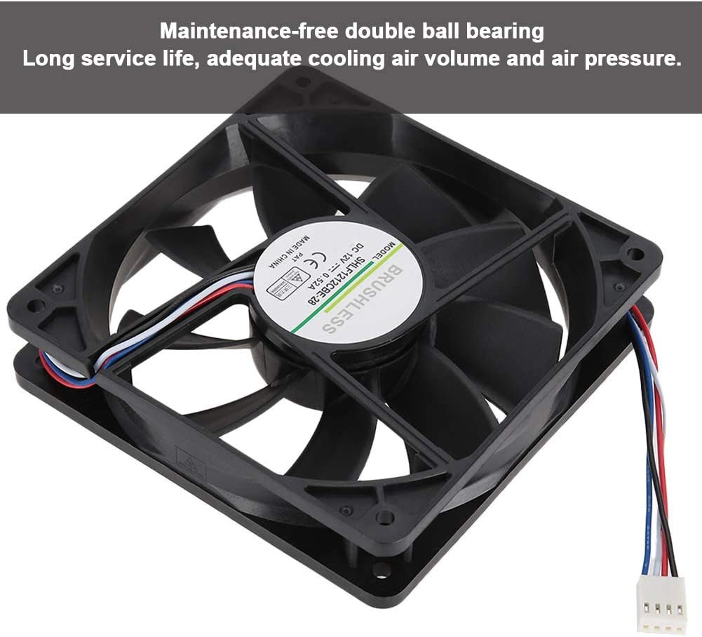 Case Cooling Fan,3400RPM Revolving Speed 0.52A 12V 120mm 4Pin Large Air Volume CPU Cooling Fan,Adequate Cooling Air Volume and Air Pressure,Suitable for Extreme Heat Dissipation or Server Use