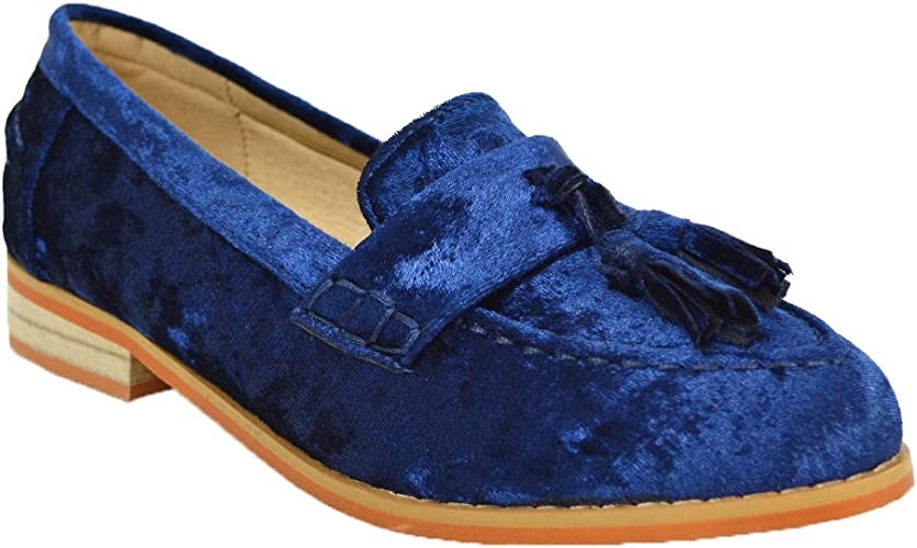 shelikes Womens Ladies Flat Tassle Loafers Diamante Casual Slip On Shoes Pumps Size 3-8