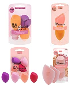 Real Techniques Miracle Complexion Sponge Makeup Blender Assorted Kit, Beauty Sponges Ideal for Face and Body, 13 Count