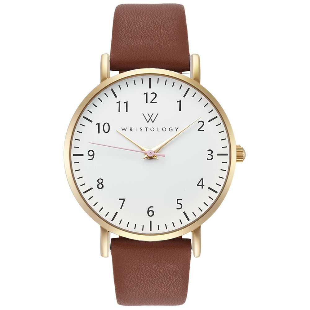 WRISTOLOGY Olivia Womens Numbers Boyfriend Watch Gold Brown Leather Strap