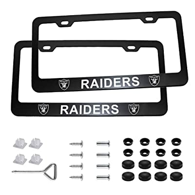 Auto Parts 2pcs with American Football Team Logo License Plate Frames with Screw Caps Set Stainless Steel Frame Applicable to US Standard Cars License Plate (Oakland Raiders): Automotive