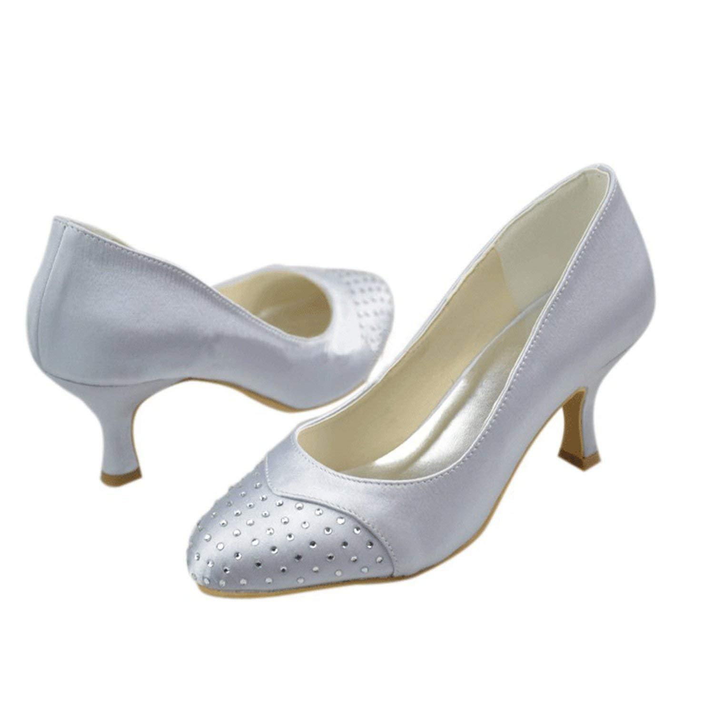 Qiusa Mädchen Med Ferse Kristalle Satin Braut Hochzeit Schuhe (Farbe   Silber-6.5cm Heel Größe   5 UK)