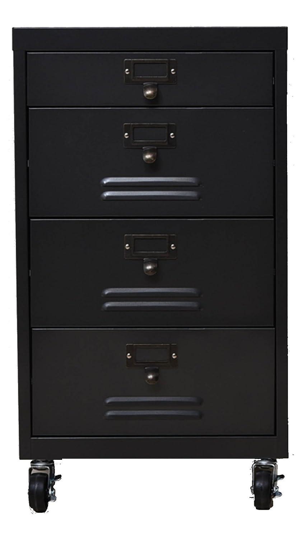 ヘラアナログ スリムチェストワゴン スチール製 黒皮風塗装 35×36×H63cm HA-03   B01DTZ1CLS
