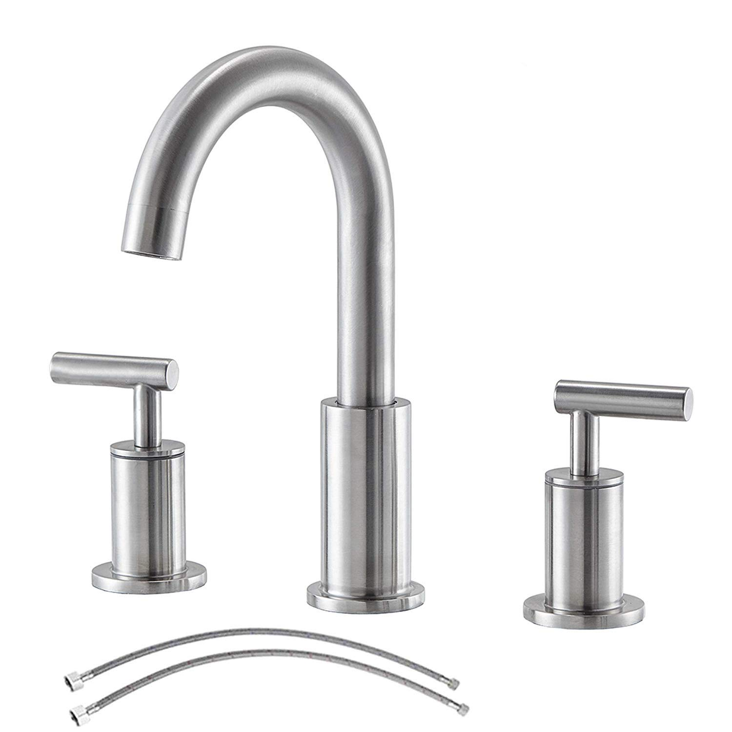 Comllen Modern Stainless Steel Double Handle Brushed Nickel 8 Inch Lavatory Widespread Bathroom Faucet Bathroom Sink Faucet Without Pop Up Drain