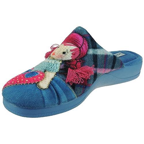 DeValverde. Zapatilla Destalonada y Bordada para Casa para Mujer - Modelo 113, Color Azul, Talla 40: Amazon.es: Zapatos y complementos