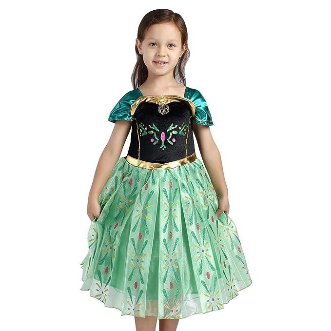IWEMEK Disfraz de Princesa Anna Vestido Frozen Niñas Reina ...
