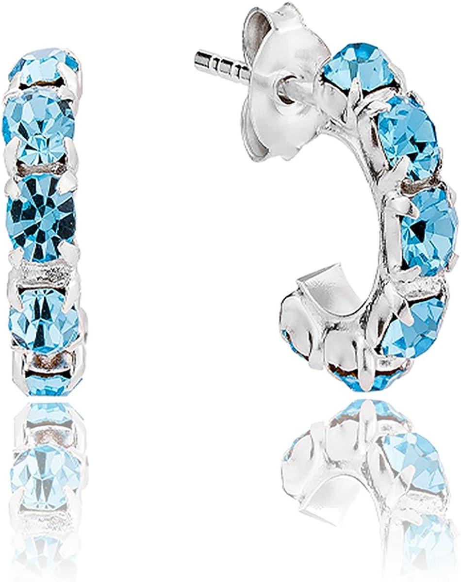 DTP Silver - Pendientes - Medio Aro - Plata de Ley 925 con Cristal Swarovsky de color: Azul/Agua Marina - Espesor 3 mm - Diámetro 12 mm