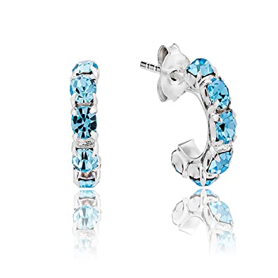 5d55069b3 DTPSilver - 925 Sterling Silver Half Hoops Earrings with Swarovski Crystal  Elements - Colour : Aquamarine - 12 mm: Amazon.co.uk: Jewellery