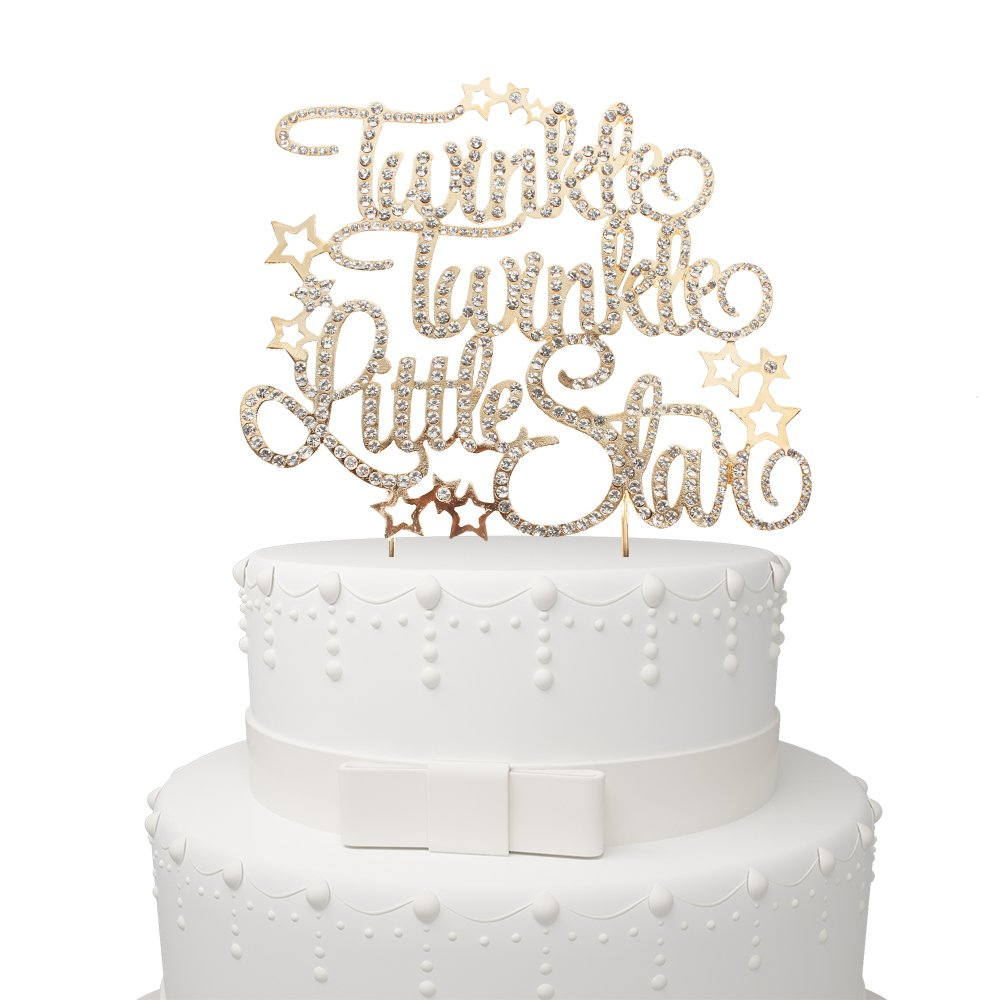 Twinkle Twinkle Little Star Rhinestone Gold Metal Cake Topper Party Decoration For Baby Shower Birthday/Wedding & Anniversary Engagement Party.