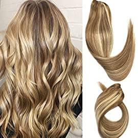 Clip in Hair Extensions Human Hair Golden Brown to Blonde Highlights 14 inch Balayage Ombre Long Hair Extensions Clip on…
