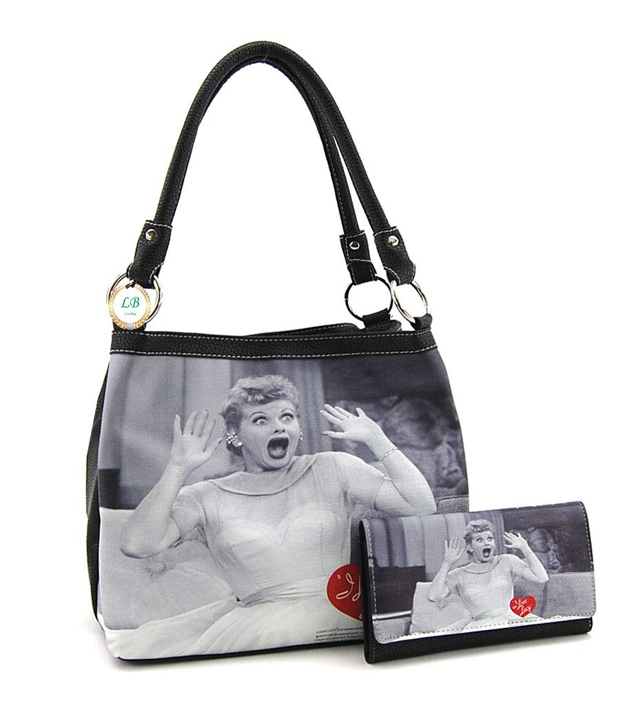 I love Lucy Medium Purse and Wallet Set, Two Way Bag (Black)