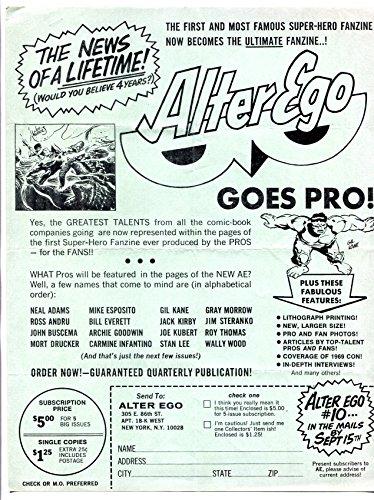 (Alter Ego Fanzine Promotional Flyer 1968- Gil Kane- Joe Kubert)