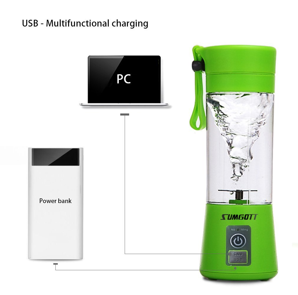Portable Blender USB Juicer Cup - SUMGOTT Juicer Machine with USB Charger Fruit Mixing Machine Personal Size Rechargeable Juice Blender and Mixer by SUMGOTT (Image #2)
