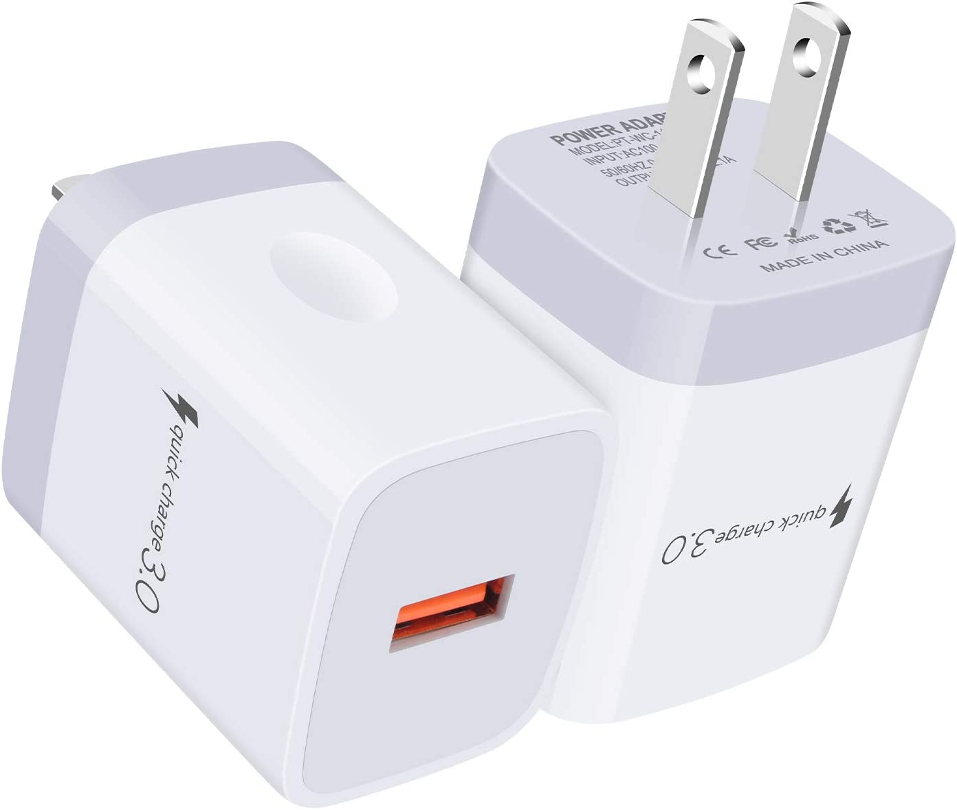 2Pack Quick Charge 3.0 Fast Charging Block Adaptive AC Adapter Wall Charger Plug for iPhone, Samsung Galaxy S21 Ultra S20 FE 5G S20+ Note 20 S10 Lite S10 5G S10e S9 S8 S7 A01 A10E A20 A21 A50 A51 A71
