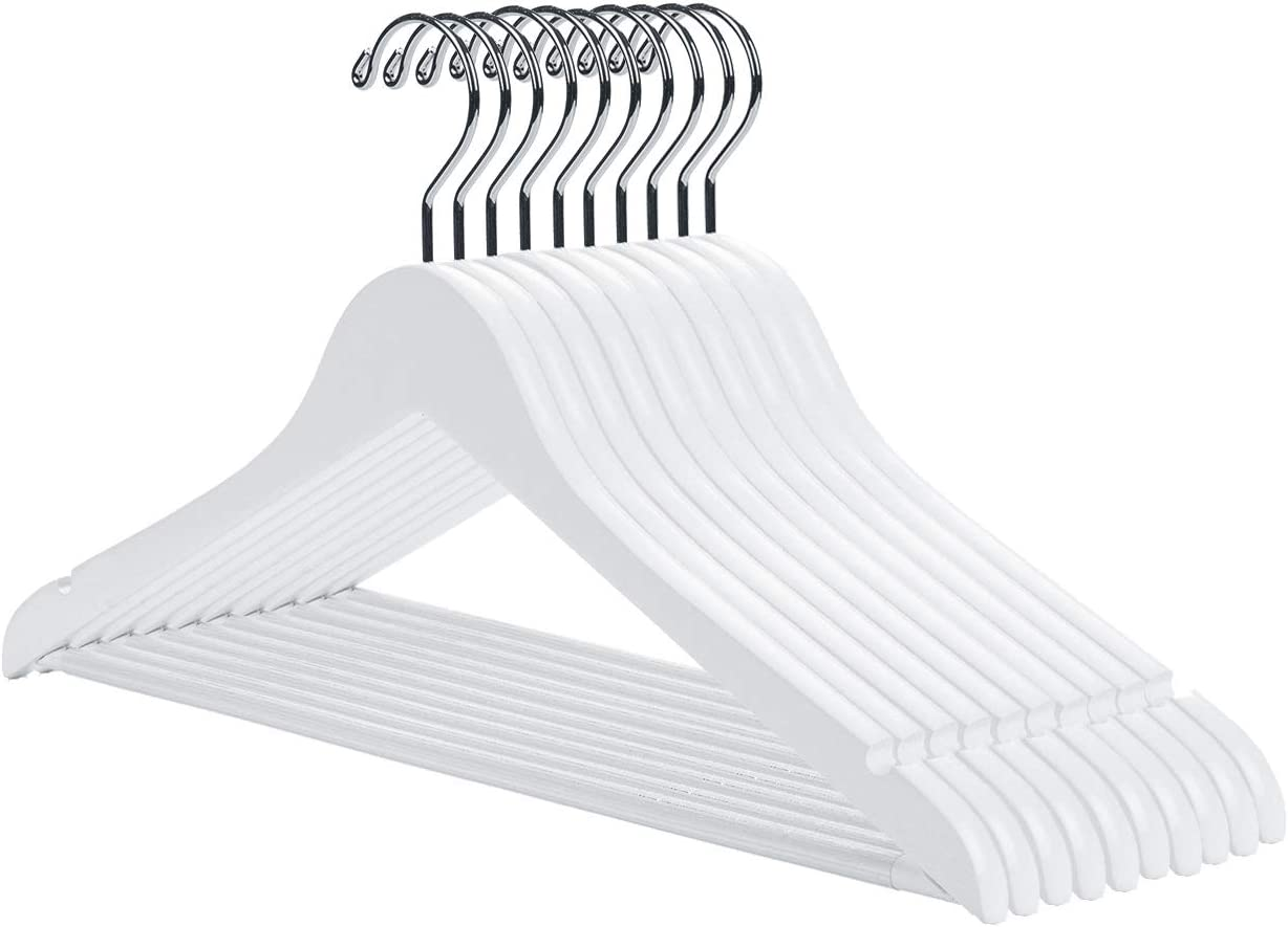 Nature Smile White Wooden Coat Hangers 16 Pack Premium Solid Wood Suit Clothes Hangers with Pants Bar