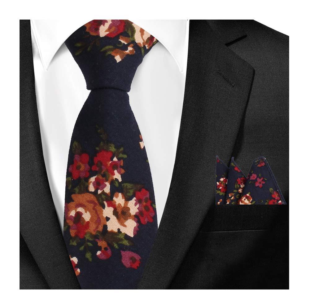 Men Navy Red Cotton Tie Set Handkerchief Neckwear Suit Necktie Pocket Square Set