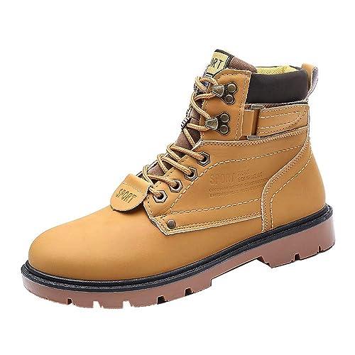 2018 Hombre Botas de Seguridad Invierno Botas Martin Zapatos de Piel de Cuero cálido Forrado no