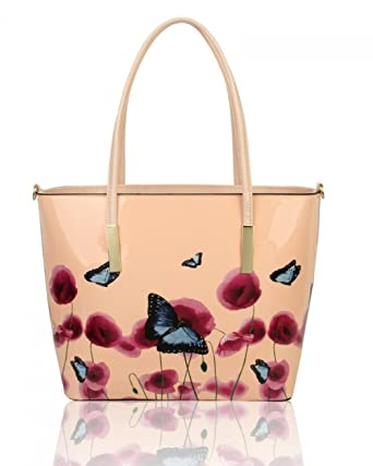 43837577b53d LeahWard Women s Great Nice Poppy Flower Patent Handbags Tote Bag Or Purses  (ALMOND PINK