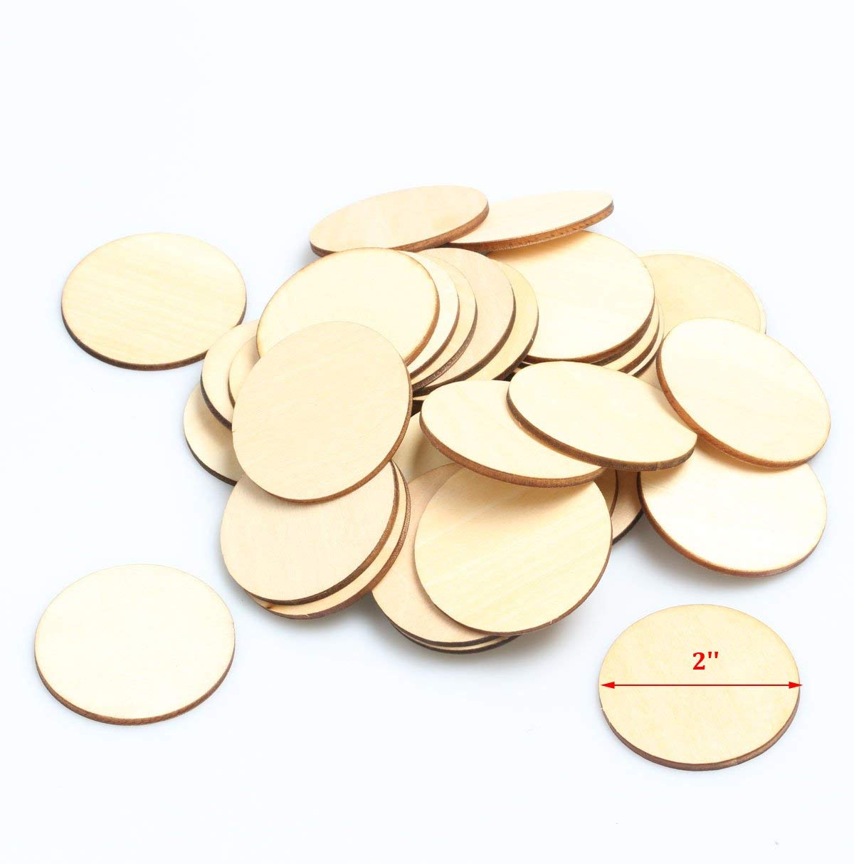 woodeni 2-Inch Unfinished Round Wooden Circles Blank Wood Cutout Slices Discs DIY Crafts 50pcs