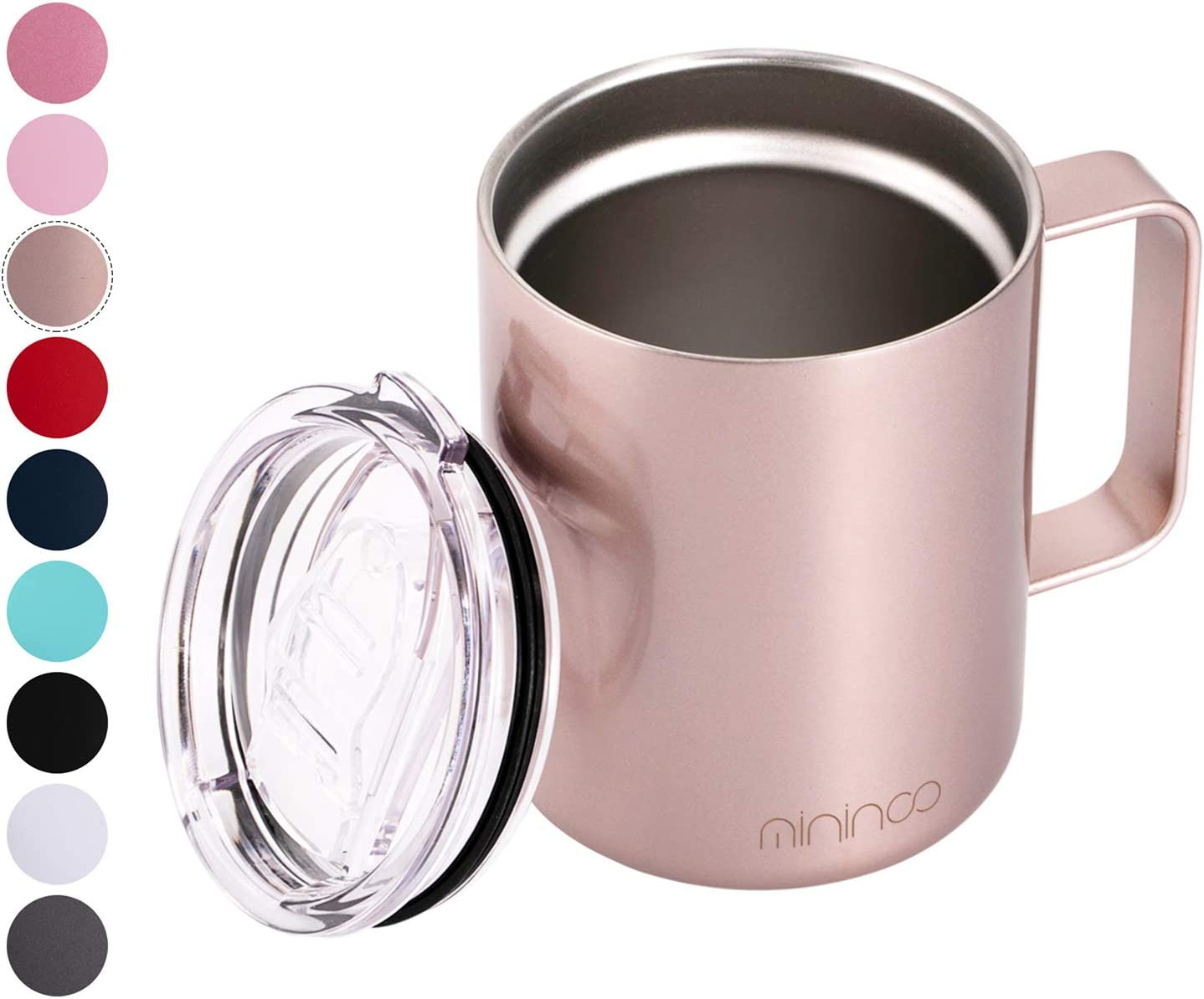 Stainless Steel Insulated Coffee Mug Cup with Handle,12OZ Double Wall Vacuum Travel Coffee Tumbler Mug with Lid Rose Gold