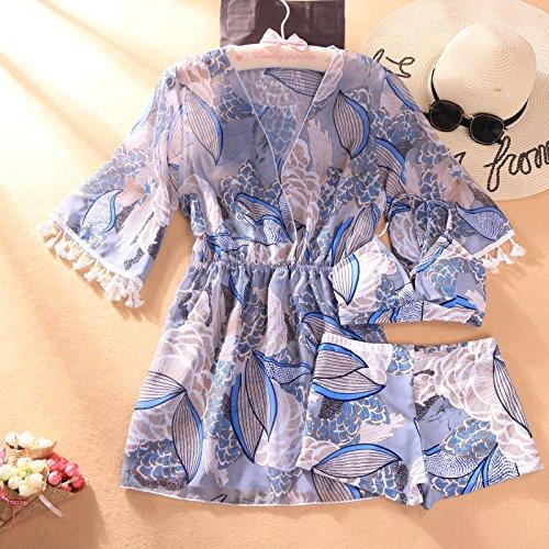 XIAOHUAHUA La Femme Maillot De Bain 3 Pièces Petit Printemps Fresh Hot Spring Resort Beach Pantalons Sans Sangle Anneau Montés Ensemble