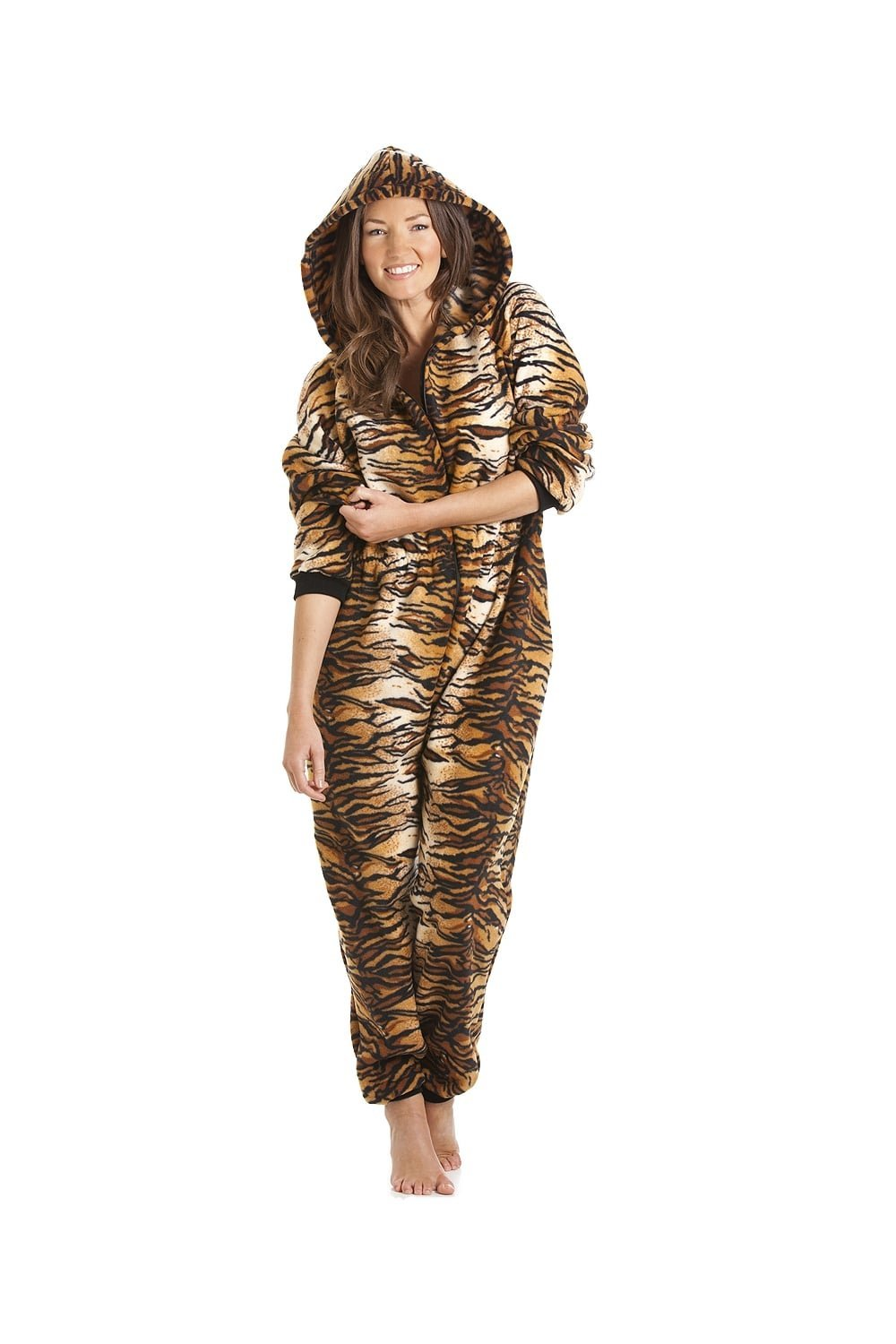 Camille Womens Luxury Gold And Brown Tiger Print Hooded Soft Fleece Onesie