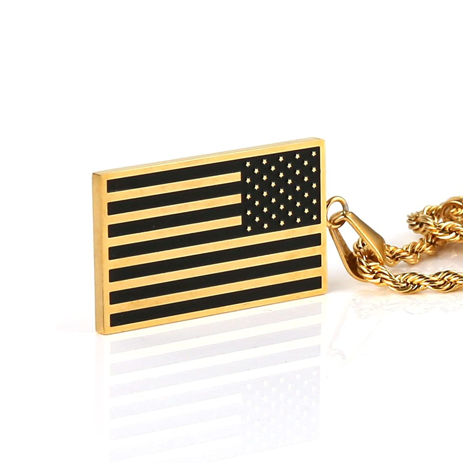 pendant necklace white gold fire flag american man