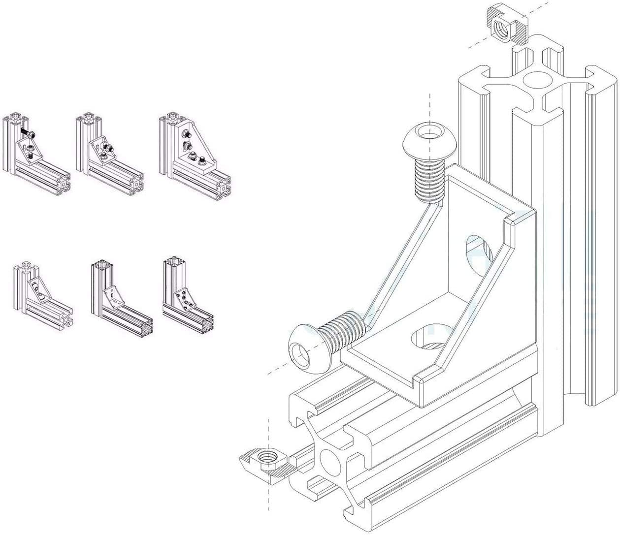 Socell 2020 Corner Bracket Right Angle 2020 Series 2 Hole Aluminum Brackets 2020 Series Aluminum Profile Connector Set for Aluminum Extrusion Profile with Slot 6mm 20pcs