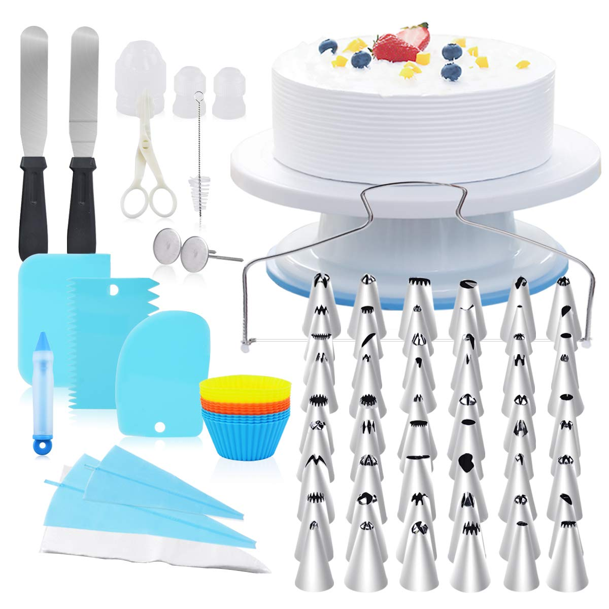 108 pcs Cake Decorating Kit, Piping Tips, Cake Turntable, Cake Turntable Stand,Cake Stand, Cake Leveler, Cupcake Decorating, Piping Bags and DIY Cake Decorating Tips, Bakeware Utensil