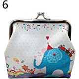 bigcity Mini Money Bag Vintage Owl Elephant Print Kiss Clasp Women Coin Purse Pouch 6# Onesize