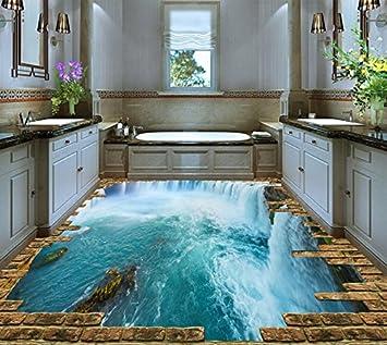 Lqwx Large 3D Floor Wallpaper Custom Vinyl Flooring Roll Waterfalls Waterproof Non Slip Pvc Sticker