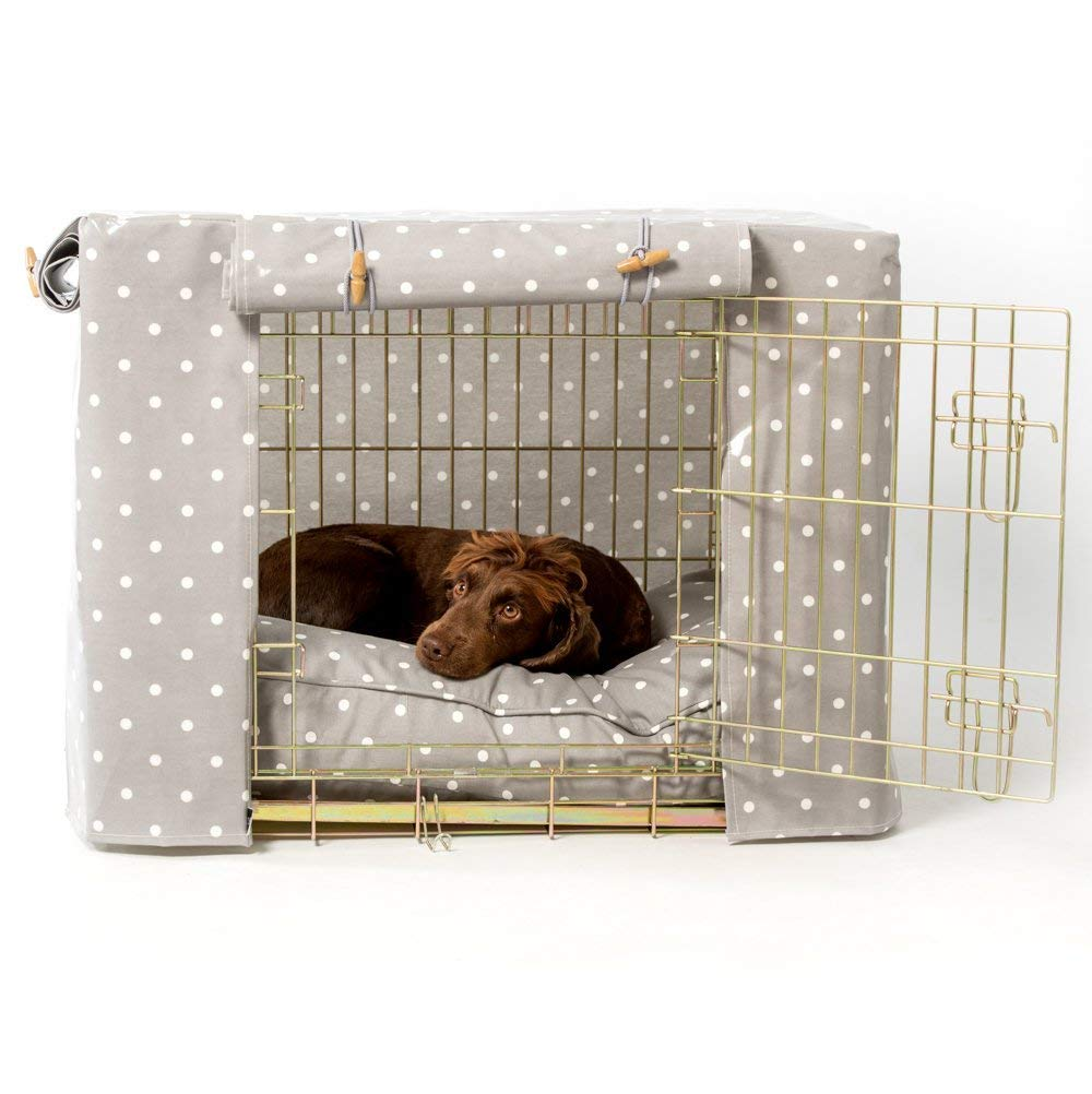 Small 24\ Lords & Labradors Grey Spot Oilcloth Dog Crate Cover to fit Midwest iCrate and Similar Sized Dog crates (Small 24 )