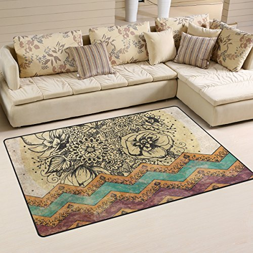 Sunlome Hippie Hippy Floral Chevron Area Rug Rugs Non-Slip Indoor Outdoor Floor Mat Doormats for Home Decor 60 x 39 inches]()