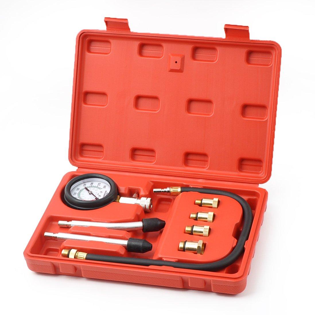 WINTOOLS 8 PCS Petrol Engine Cylinder Compression Tester Kit Automotive Tool Gauge