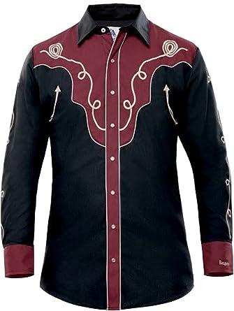 Modestone Mens Embroidered Fitted Western Camisa Vaquera Filigree Black 3XL: Amazon.es: Ropa y accesorios