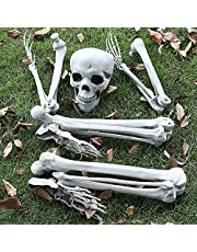 Halloween Skeleton Prop, Human Full Size Skull Hand Garden Model Decor, Life Size Realistic Human Bones, Can be Suspended from Ceiling, Suitable for Halloween or Prank Themes